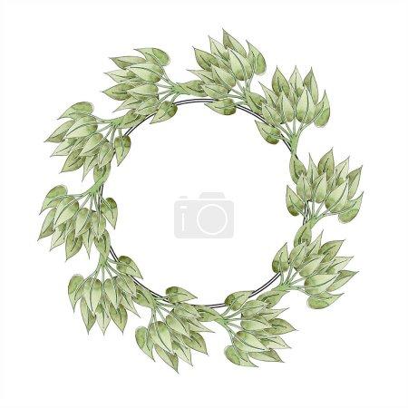 Photo pour Vert ornement floral avec des tourbillons. Aquarelle de fond illustration ensemble. Ornement de bordure cadre avec espace copie. - image libre de droit