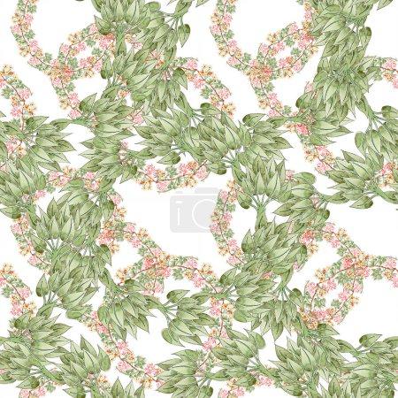 Foto de Ornamento floral colorido del botánico. Conjunto de ilustración acuarela. Patrón de fondo transparente. Textura impresión de papel pintado de tela. - Imagen libre de derechos