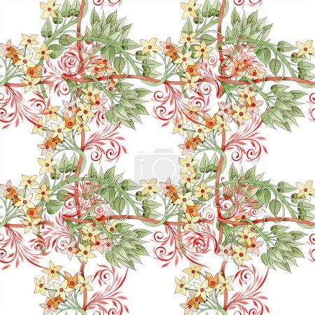 farbenfroher floraler botanischer Schmuck. Aquarell-Illustrationsset vorhanden. nahtlose Hintergrundmuster. Stoff Tapete drucken Textur.