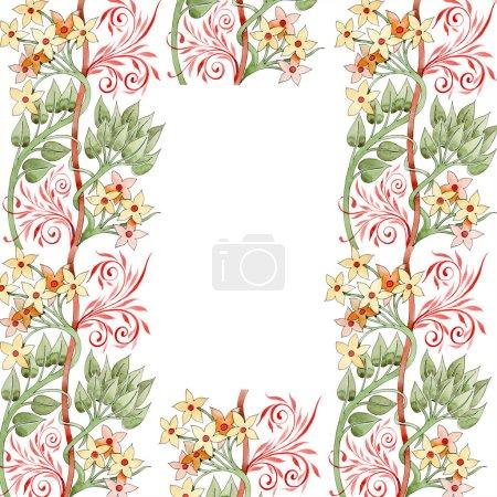 Foto de Ornamento floral colorido con remolinos. Conjunto de ilustración de fondo de acuarela. Ornamento de la frontera del marco con espacio de copia. - Imagen libre de derechos