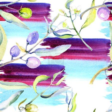 Foto de Conjunto de ilustración de fondo acuarela aceitunas. Patrón de fondo transparente. Textura impresión de papel pintado de tela. - Imagen libre de derechos