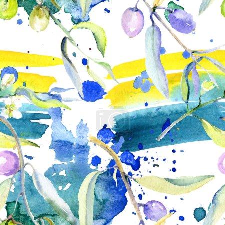 Photo pour Olives aquarelle fond illustration ensemble. Modèle de fond sans couture. Texture d'impression papier peint tissu . - image libre de droit