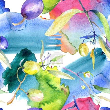 Photo pour Olives aquarelle fond illustration ensemble. Motif de fond transparente. Impression texture de tissu papier peint. - image libre de droit