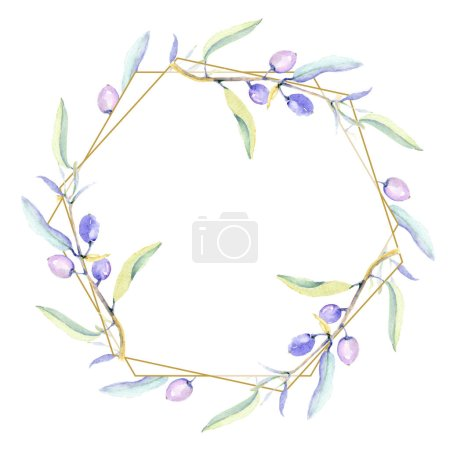 Photo for Olives watercolor background illustration set. Frame border ornament with copy space. - Royalty Free Image