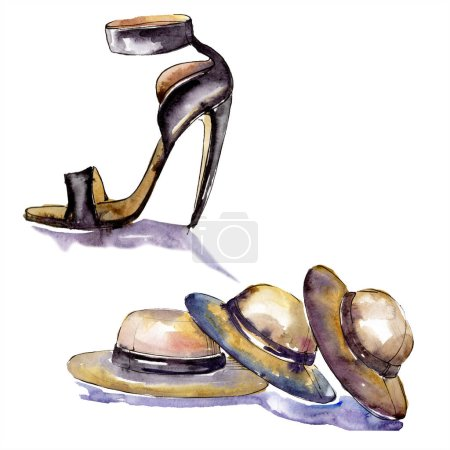 Photo for Hats and shoe sketch fashion glamour illustration. Clothes accessories set trendy vogue outfit. Watercolor background set. Watercolour drawing fashion aquarelle. Isolated illustration element. - Royalty Free Image