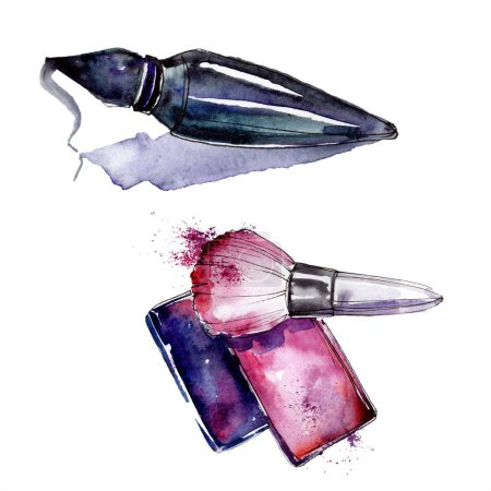 Photo for Perfume and rouge sketch fashion glamour illustration. Clothes accessories set trendy vogue outfit. Watercolor background set. Watercolour drawing fashion aquarelle. Isolated illustration element. - Royalty Free Image