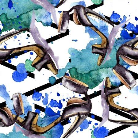 Foto de Ropa accesorios cosméticos vogue moda conjunto uniforme. Conjunto de ilustración de fondo de acuarela. Aquarelle de moda dibujo de acuarela. Patrón de fondo transparente. Textura impresión de papel pintado de tela - Imagen libre de derechos