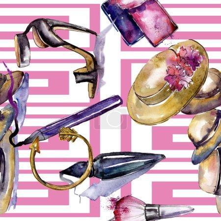 Photo pour Cosmétiques et accessoires vêtements mis en tenue tendance vogue. Aquarelle de fond illustration ensemble. Dessin aquarelle de mode aquarelle. Motif de fond transparente. Impression texture de tissu papier peint - image libre de droit