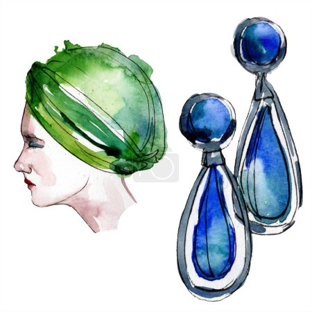 Hat and earrings sketch fashion glamour illustration in a watercolor style. Clothes accessories set trendy vogue outfit. Aquarelle sketch for background. Watercolour drawing aquarelle isolated.