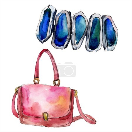 Bag and bracelet sketch fashion glamour illustration in a watercolor style. Clothes accessories set trendy vogue outfit. Aquarelle sketch for background. Watercolour drawing aquarelle isolated.