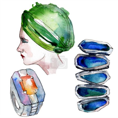 Photo for Hat, ring and earrings sketch fashion glamour illustration in a watercolor style. Clothes accessories set trendy vogue outfit. Aquarelle sketch for background. Watercolour drawing aquarelle isolated. - Royalty Free Image