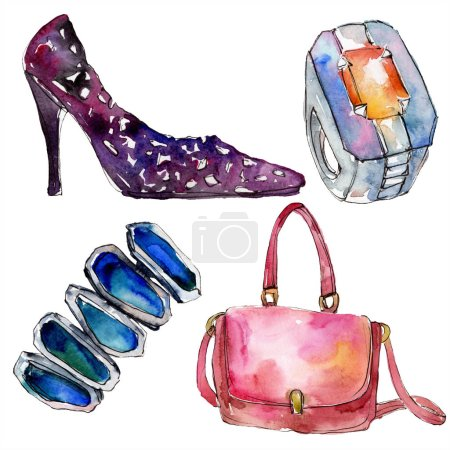 Photo for Shoe, ring, bracelet and bag sketch fashion glamour illustration in a watercolor style. Clothes accessories set trendy vogue outfit. Aquarelle for background. Watercolour drawing aquarelle isolated. - Royalty Free Image