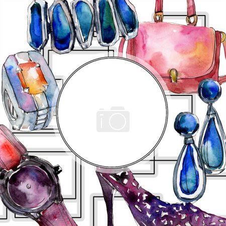 Photo for Clothes accessories set trendy vogue outfit. Watercolor background illustration set. Watercolour drawing fashion aquarelle. Frame border ornament square. - Royalty Free Image