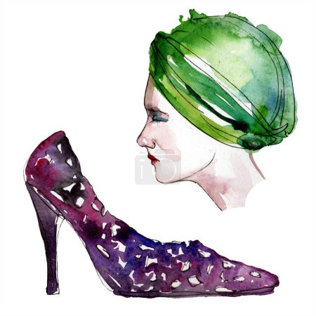 Photo for Hat and shoe sketch fashion glamour illustration in a watercolor style. Clothes accessories set trendy vogue outfit. Aquarelle fashion sketch for background. Watercolour drawing aquarelle isolated. - Royalty Free Image