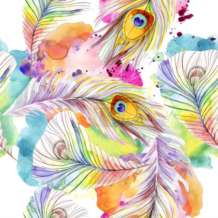Colorful bird feather from wing isolated. Watercolor background illustration set. Watercolour drawing fashion aquarelle isolated. Seamless background pattern. Fabric wallpaper print texture.