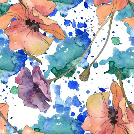 Photo for Red and purple poppy floral botanical flower. Wild spring leaf isolated. Watercolor illustration set. Watercolour drawing aquarelle. Seamless background pattern. Fabric wallpaper print texture. - Royalty Free Image