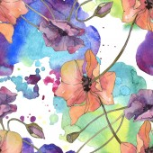 """Постер, картина, фотообои """"Красный и фиолетовый цветочные ботанические цветок мака. Дикие весны листьев изолированы. Набор акварели иллюстрации. Акварель Акварель и рисования. Бесшовный фон узор. Обои для рабочего стола ткань печати текстуры."""""""