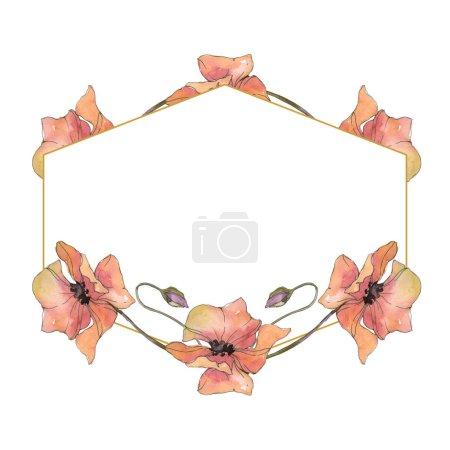 Flor botánica floral de amapola roja y púrpura. Hoja de primavera salvaje aislada. Conjunto de ilustración de fondo acuarela. Acuarela dibujo moda acuarela aislado. Marco borde ornamento cuadrado .