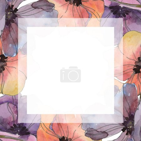 Photo for Red and purple poppy floral botanical flower. Wild spring leaf isolated. Watercolor background illustration set. Watercolour drawing fashion aquarelle isolated. Frame border ornament square. - Royalty Free Image