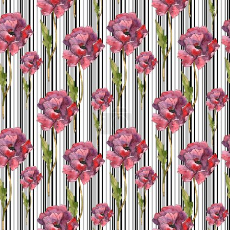 Photo for Red poppy floral botanical flower. Wild spring leaf. Watercolor illustration set. Watercolour drawing fashion aquarelle isolated. Seamless background pattern. Fabric wallpaper print texture. - Royalty Free Image