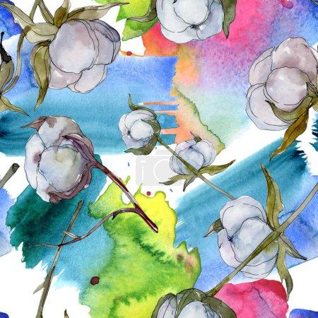 weiße botanische Baumwollblume. wilde Frühlingsblume. Aquarell-Illustrationsset vorhanden. Aquarellzeichnung Modeaquarell isoliert. nahtlose Hintergrundmuster. Stoff Tapete drucken Textur.
