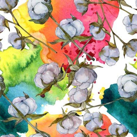 Fleur botanique en coton blanc. Feuille de printemps sauvage fleur sauvage. Ensemble d'illustration aquarelle. Aquarelle dessin mode aquarelle isolé. Modèle de fond sans couture. Texture d'impression papier peint tissu .