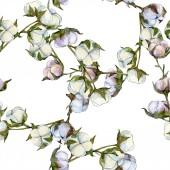 """Постер, картина, фотообои """"Цветочные ботанические цветок хлопка. Дикие весны листьев Уайлдфлауэр. Набор акварели иллюстрации. Акварель рисования моды акварель изолированы. Бесшовный фон узор. Обои для рабочего стола ткань печати текстуры."""""""