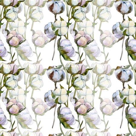 Photo pour Fleur botanique florale en coton. Feuille de printemps sauvage fleur sauvage. Ensemble d'illustration aquarelle. Aquarelle dessin mode aquarelle isolé. Modèle de fond sans couture. Texture d'impression papier peint tissu . - image libre de droit