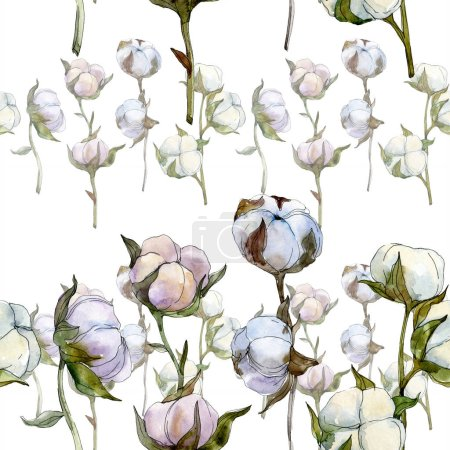 Photo for Cotton floral botanical flower. Wild spring leaf wildflower. Watercolor illustration set. Watercolour drawing fashion aquarelle isolated. Seamless background pattern. Fabric wallpaper print texture. - Royalty Free Image