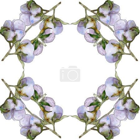 Photo pour Coton fleurs illustration aquarelle ensemble. Ornement de bordure cadre avec espace copie. - image libre de droit