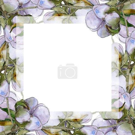 Foto de Cotton flowers watercolor illustration set. Frame border ornament with copy space. - Imagen libre de derechos