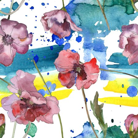 Foto de Rojo amapola floral botánica flor morada. Hoja de primavera salvaje aislada. Conjunto de ilustración acuarela. Aquarelle de moda dibujo de acuarela. Patrón de fondo transparente. Textura impresión de papel pintado de tela. - Imagen libre de derechos