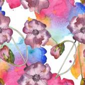 """Постер, картина, фотообои """"Фиолетовый красный мак цветочные ботанические цветок. Дикие весны листьев изолированы. Набор акварели иллюстрации. Рисования акварелью моды акварель. Бесшовный фон узор. Обои для рабочего стола ткань печати текстуры"""""""