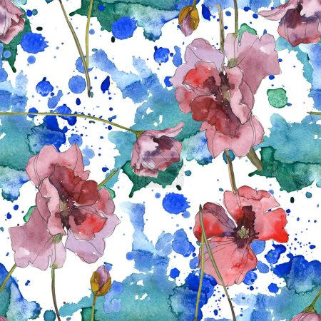 Photo for Purple red poppy floral botanical flower. Wild spring leaf isolated. Watercolor illustration set. Watercolour drawing fashion aquarelle. Seamless background pattern. Fabric wallpaper print texture. - Royalty Free Image