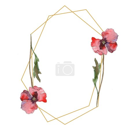 Photo for Purple red poppy floral botanical flower. Wild spring leaf wildflower isolated. Watercolor background illustration set. Watercolour drawing fashion aquarelle isolated. Frame border ornament square. - Royalty Free Image