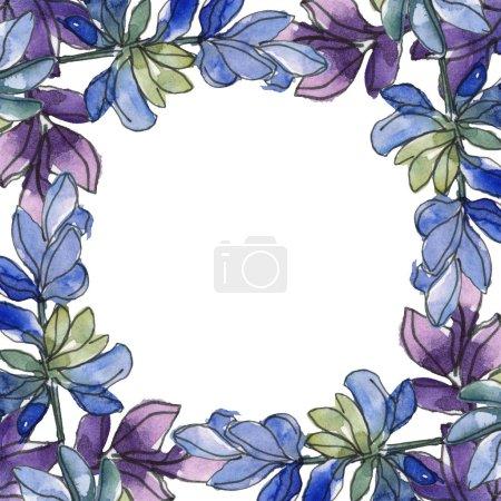 Foto de Lavanda púrpura. Conjunto de ilustración acuarela. Patrón de fondo transparente. Textura impresión de papel pintado de tela. - Imagen libre de derechos