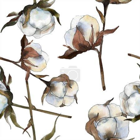 Photo pour Fleur botanique florale en coton. Ensemble d'illustration de fond aquarelle. Aquarelle dessin mode aquarelle isolé. Modèle de fond sans couture. Texture d'impression papier peint tissu . - image libre de droit