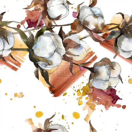 Photo for Cotton floral botanical flower. Watercolor background illustration set. Watercolour drawing fashion aquarelle isolated. Seamless background pattern. Fabric wallpaper print texture. - Royalty Free Image