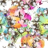 """Постер, картина, фотообои """"Цветочные ботанические цветок хлопка. Акварель фон иллюстрации набора. Акварель рисования моды акварель изолированы. Бесшовный фон узор. Обои для рабочего стола ткань печати текстуры"""""""
