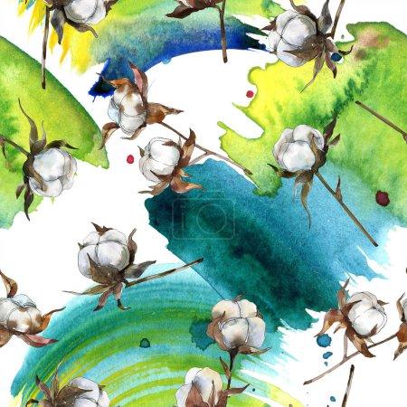 Foto de Flor de botánica floral de algodón. Conjunto de ilustración de fondo de acuarela. Acuarela dibujo moda aquarelle aislado. Patrón de fondo transparente. Textura impresión de papel pintado de tela. - Imagen libre de derechos