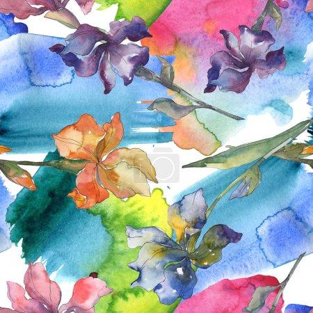 Photo pour Fleur botanique florale iris violet, rouge, orange et bleu. Ensemble de fond aquarelle. Aquarelle dessin mode aquarelle. Modèle de fond sans couture. Texture d'impression papier peint tissu . - image libre de droit