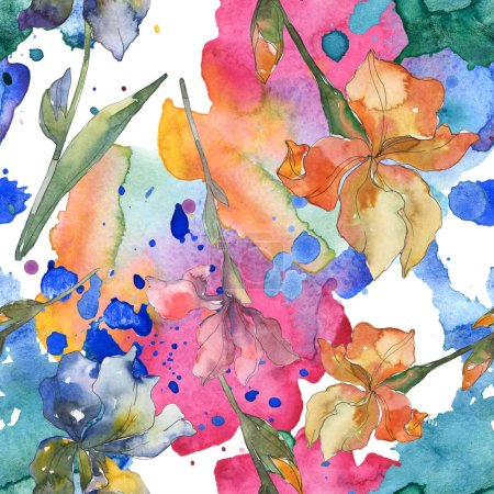 lila, rote, orangefarbene und blaue Schwertlilien, botanische Blüten. Aquarell Hintergrund Set vorhanden. Aquarell zeichnen Mode-Aquarell. nahtlose Hintergrundmuster. Stoff Tapete drucken Textur.