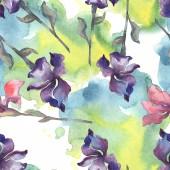 """Постер, картина, фотообои """"Фиолетовый, красный, оранжевый и синий Ирис цветочные ботанические цветок. Набор акварели фон. Рисования акварелью моды акварель. Бесшовный фон узор. Обои для рабочего стола ткань печати текстуры"""""""