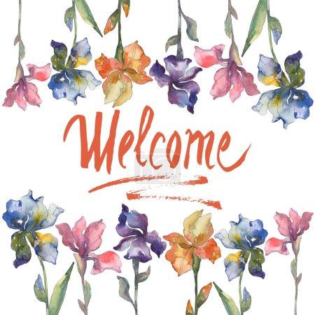Foto de Flor botánica floral de iris morado, rojo, naranja y azul. Plantas silvestres de hoja de primavera salvaje. Conjunto de fondo acuarela. Acuarela dibujo moda aquarelle aislado. Plaza de ornamento de frontera marco - Imagen libre de derechos