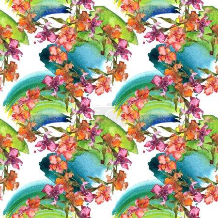 Foto de Iris de color rojo y púrpura. Conjunto de ilustración acuarela. Patrón de fondo transparente. Textura impresión de papel pintado de tela. - Imagen libre de derechos