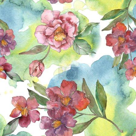 Flores de camelia roja y púrpura. Juego de ilustración en acuarela. Patrón de fondo sin costuras. Textura de impresión de papel pintado de tela .