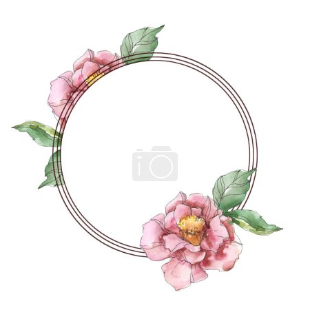 Red and purple camellia flowers. Watercolor background illustration set. Frame border ornament with copy space.