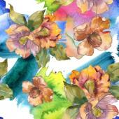 """Постер, картина, фотообои """"Камелия красные и оранжевые цветы с листьями и абстрактный узор. Набор акварели иллюстрации. Бесшовный фон"""""""