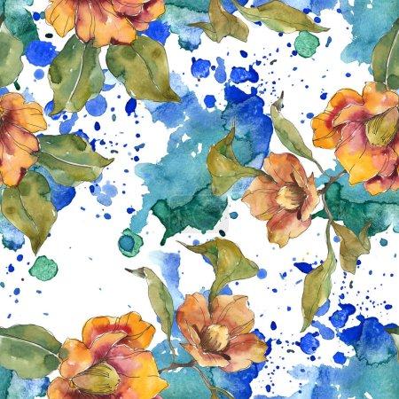 Photo pour Fleurs de camélia rouge et orange avec des feuilles et un motif abstrait. Ensemble d'illustration aquarelle. Fond sans couture . - image libre de droit