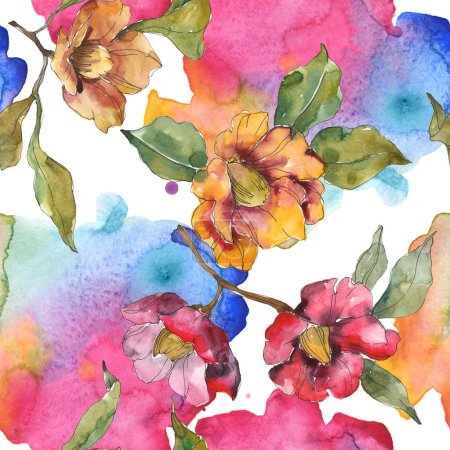 Photo for Red and orange camellia flowers with leaves and abstract pattern. Watercolor illustration set. Seamless background. - Royalty Free Image